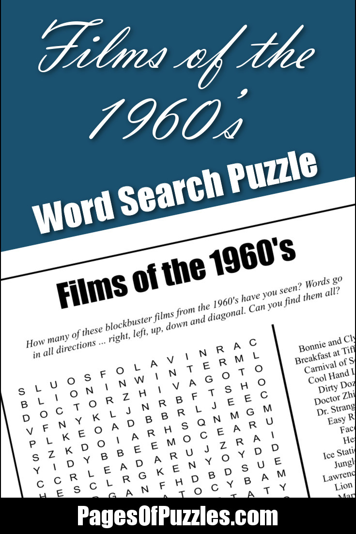 image regarding Printable Words Searches titled Flicks of the 1960s Term Appear Web pages of Puzzles