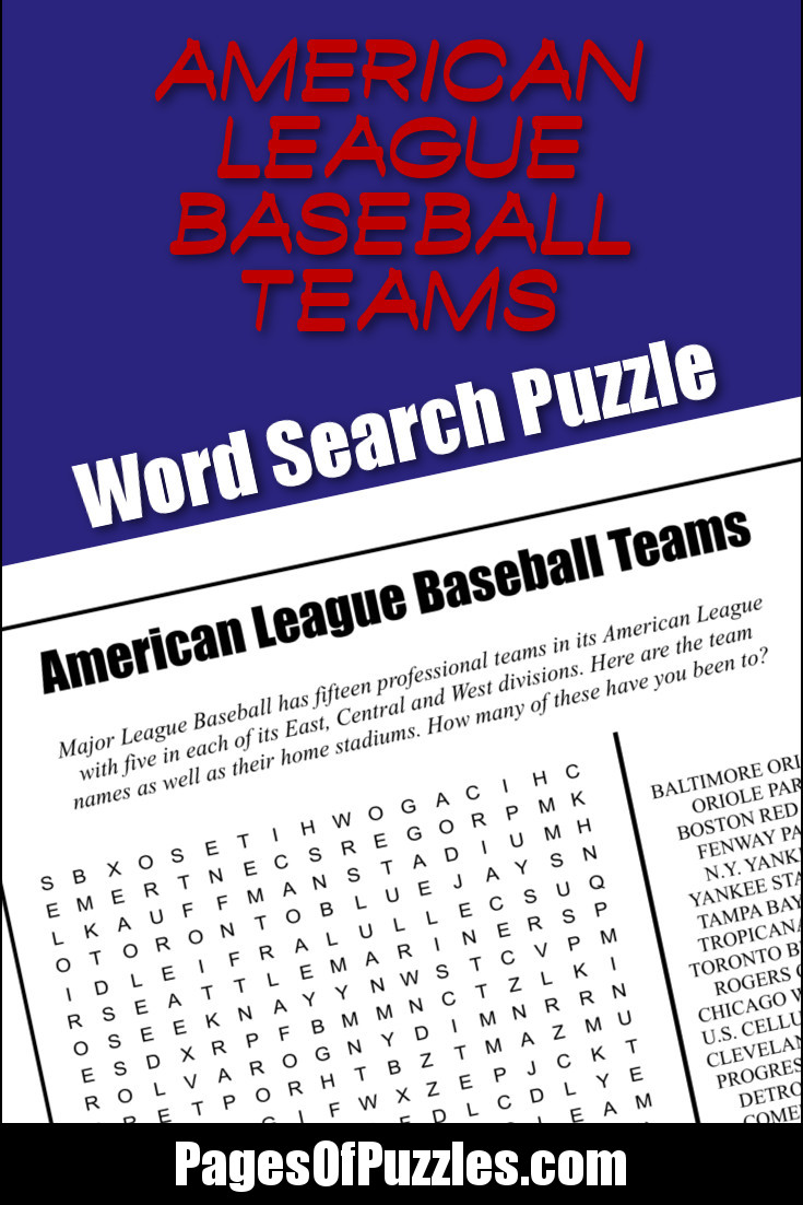 A fun printable word search puzzle featuring the names of the American League baseball teams and stadiums including the Baltimore Orioles, Chicago White Sox, Fenway Park, Kauffman Stadium, Toronto Blue Jays, and Yankee Stadium.