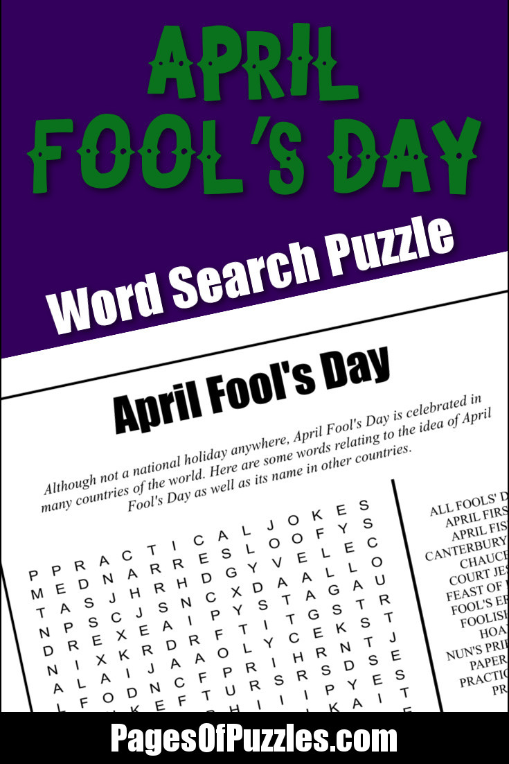 A fun printable word search puzzle featuring terms from around the world that relate to April Fool's Day including hoaxes, court jester, paper fishes, and practical jokes.