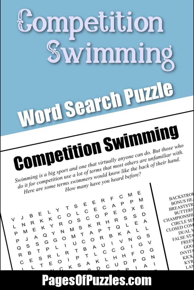 A fun printable word search puzzle about competition swimming featuring terms such as bonus heat, championship finals, closed competition, lap counter, qualifying times, and trophy.