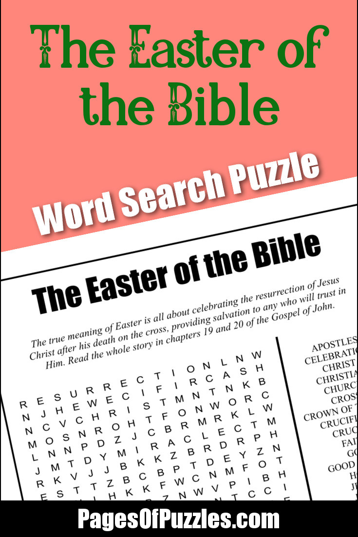 A Fun Printable Word Search Puzzle Featuring Bible Based Easter Words Like Crucifixion Good