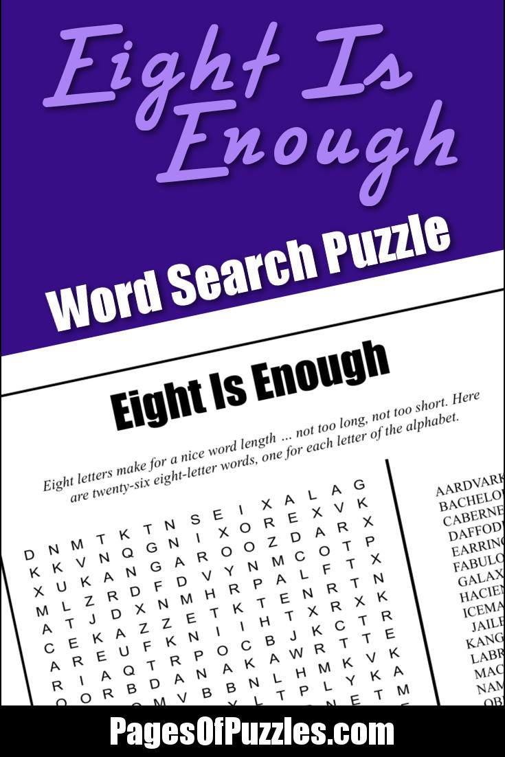 A fun printable word search puzzle featuring twenty-six eight-letter words, one for each letter of the alphabet, including daffodil, kangaroo, and zucchini.