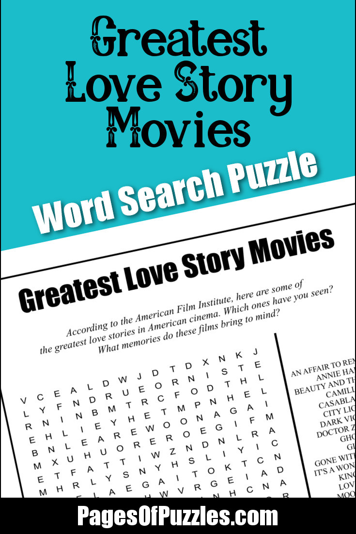 Greatest Love Story Movies Word Search