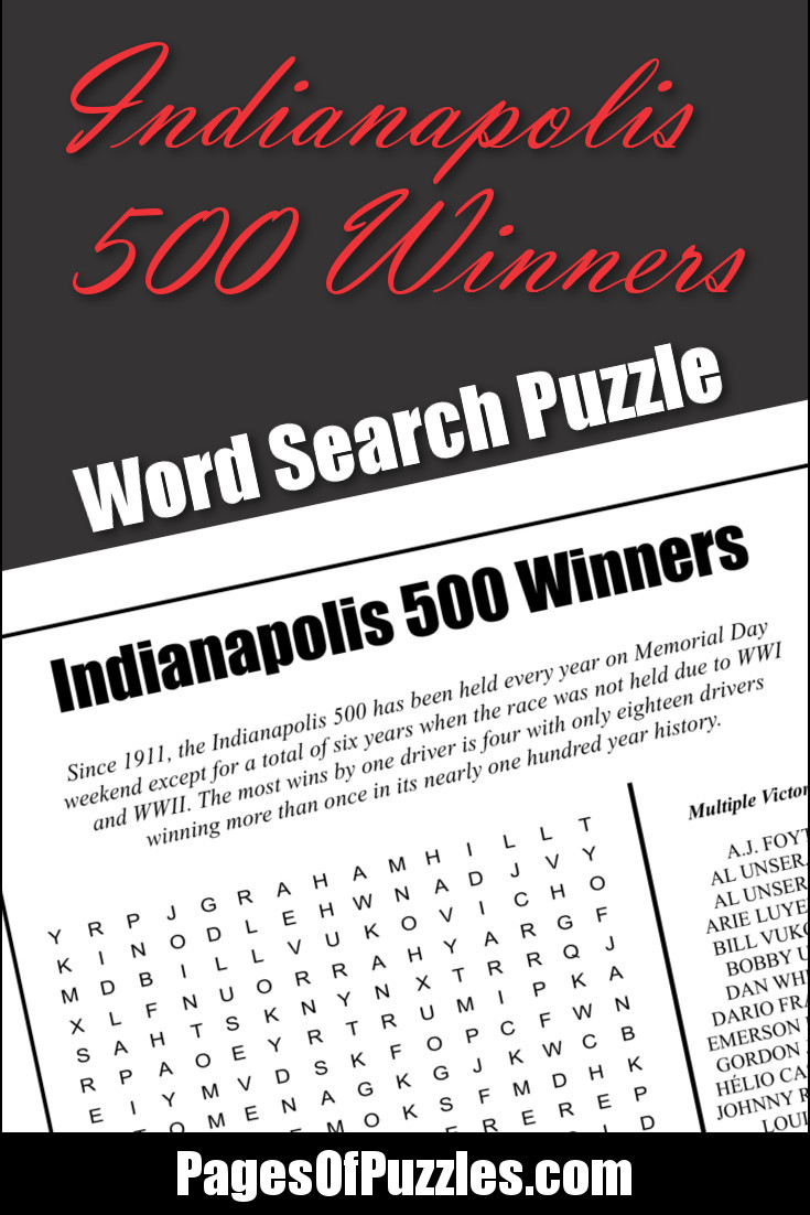Indianapolis 500 Winners Word Search – Pages of Puzzles