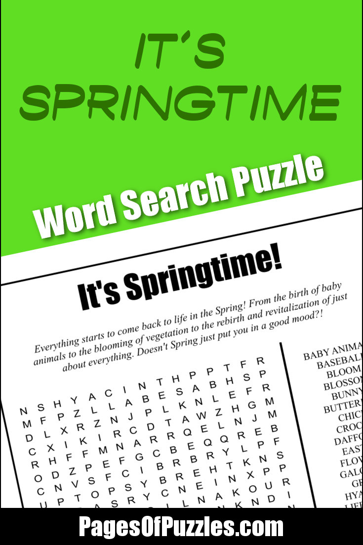 A fun printable word search puzzle loaded with terms about Springtime like baby animals, flowers, and sunshine that will bring a smile to your face and put a spring in your step.