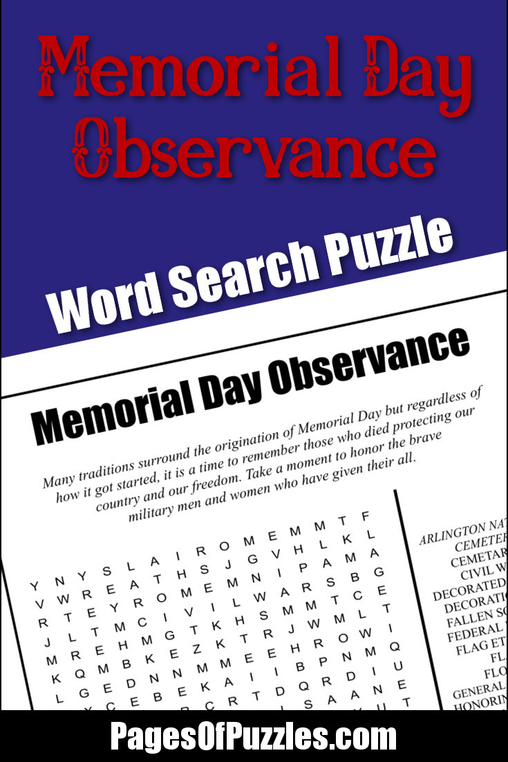memorial day observance word search pages of puzzles