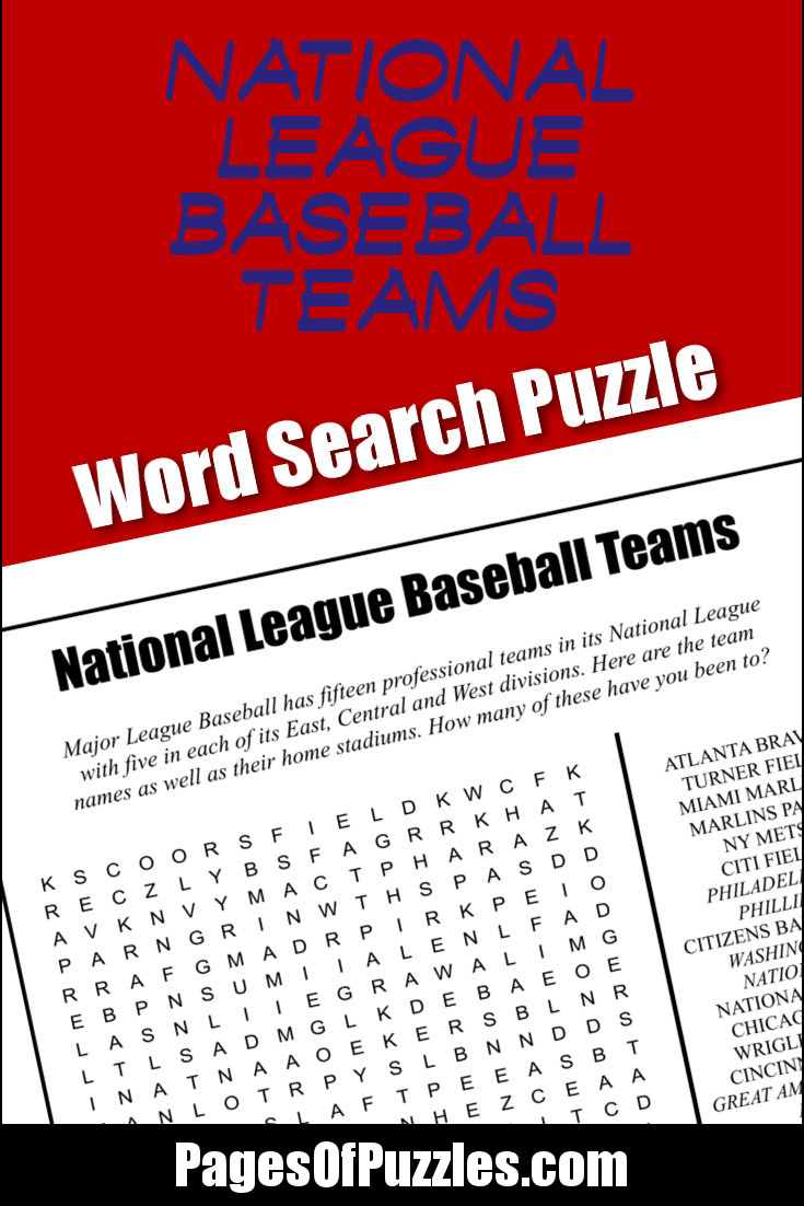 A fun printable word search puzzle featuring the names of the National League baseball teams and stadiums including the Chicago Cubs, Citi Field, Dodger Stadium, Milwaukee Brewers, San Francisco Giants, and Wrigley Field.