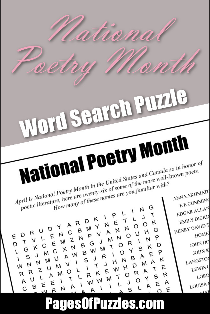 A fun printable word search puzzle featuring poets such as Edgar Allan Poe, Homer, Maya Angelou, and William Shakespeare in honor of National Poetry Month.