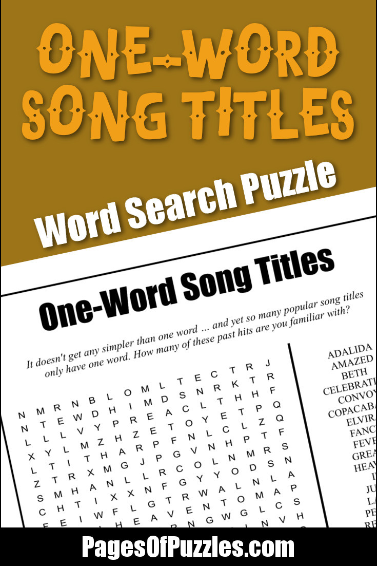 One-Word Song Titles Word Search – Pages of Puzzles