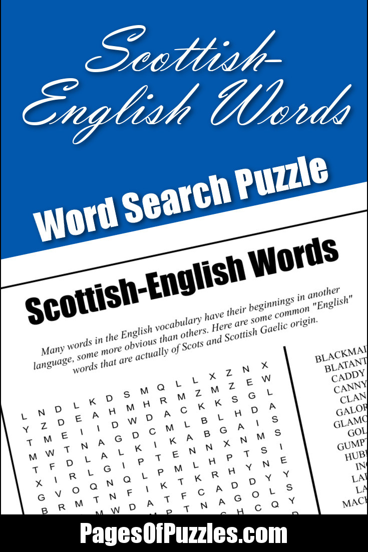 Scottish English Words Word Search