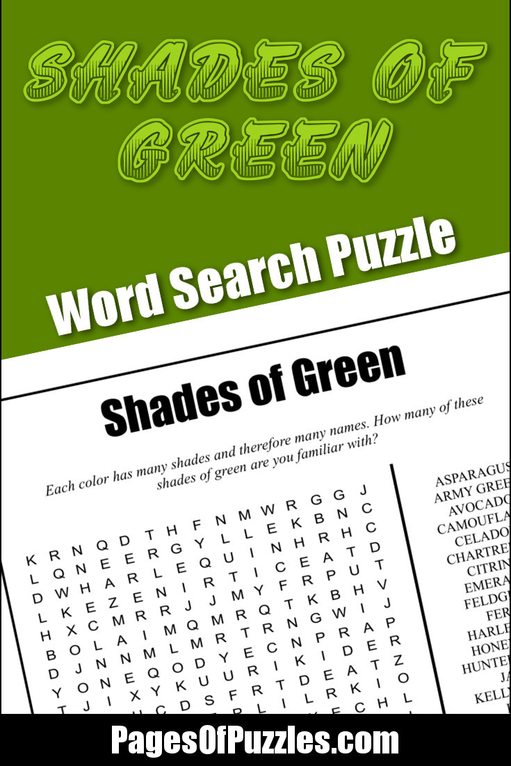 A fun printable word search puzzle featuring some of the many shades of the color green such as asparagus, camouflage, lime and shamrock green.