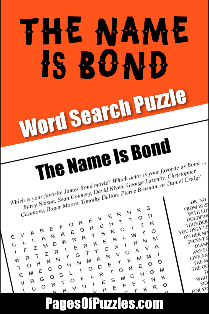 A fun printable word search puzzle featuring twenty-three James Bond movie titles to search for including Casino Royale, Skyfall, and You Only Live Twice.