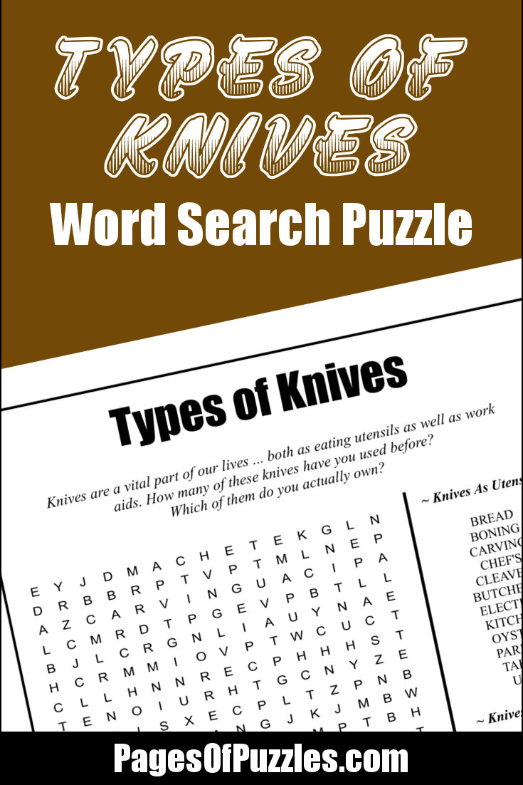A fun printable word search puzzle featuring knife varieties such as bowie, hunting, palette, utility, and x-acto knives.
