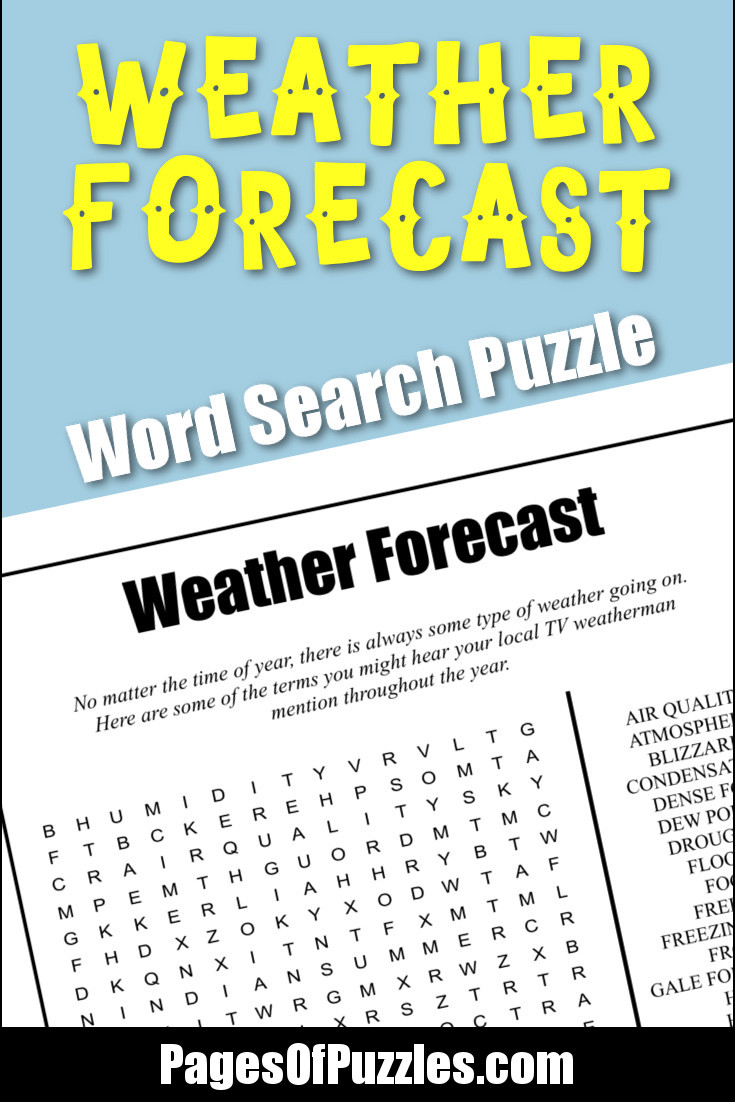 Weather Forecast Word Search Pages Of Puzzles - Weather forecast printable