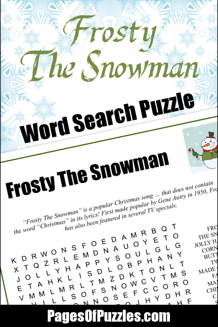 image about Frosty the Snowman Lyrics Printable referred to as Frosty The Snowman Phrase Glimpse Internet pages of Puzzles