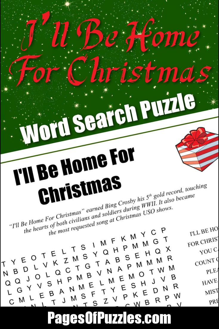 I\'ll Be Home For Christmas Word Search – Pages of Puzzles