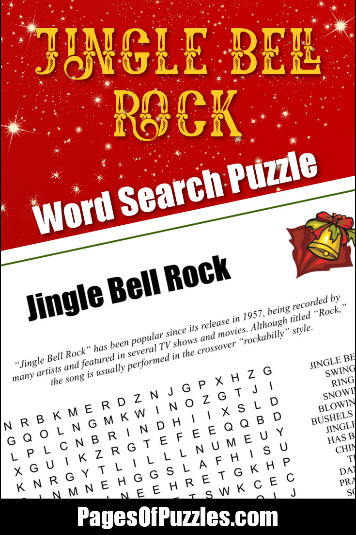 A fun printable word search puzzle featuring the lyrics of the classic Christmas song Jingle Bell Rock that you can sing along with as you search for words including jingle bell, snowing, dancing, frosty air, gliding, and giddy-up.