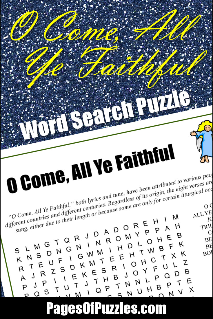 O Come All Ye Faithful Word Search Pages Of Puzzles