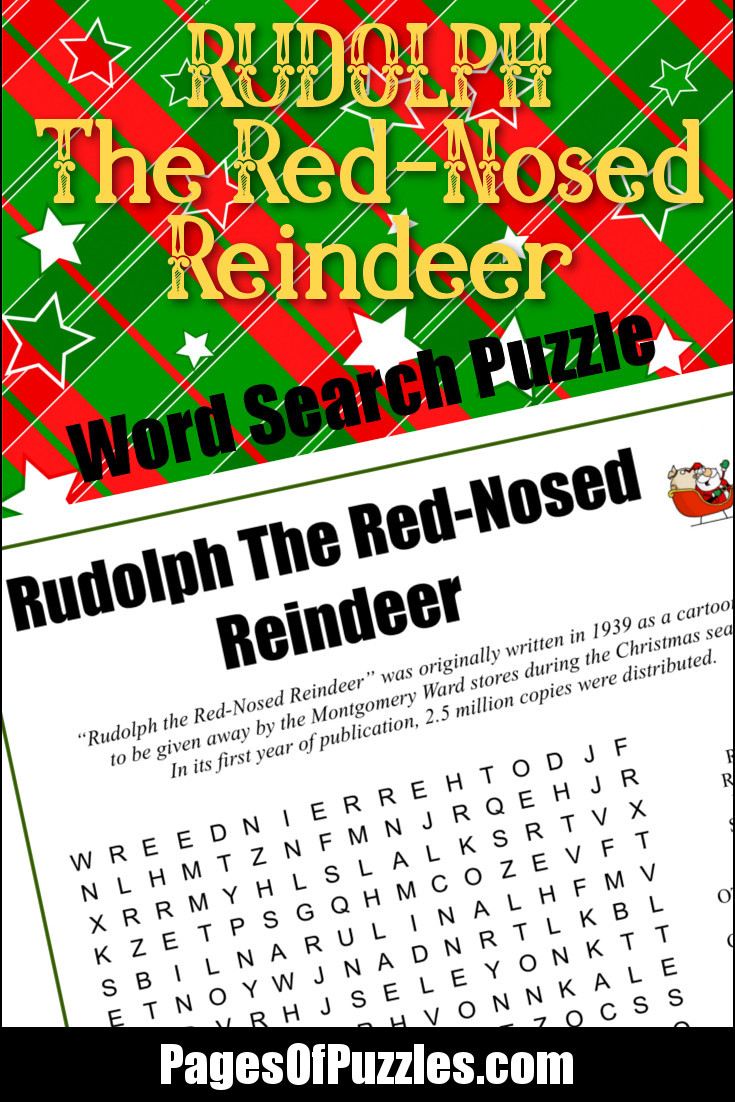 rudolph the red nosed reindeer word search