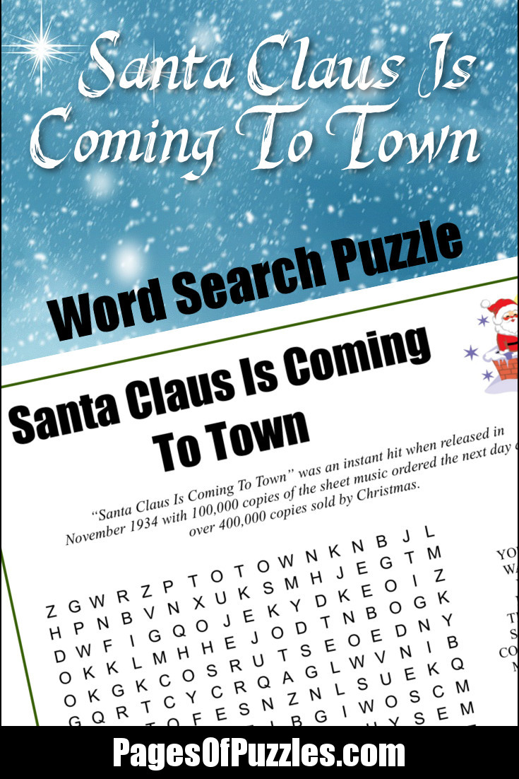 a fun printable word search puzzle featuring the lyrics of the classic christmas song santa claus - Classic Christmas Songs List