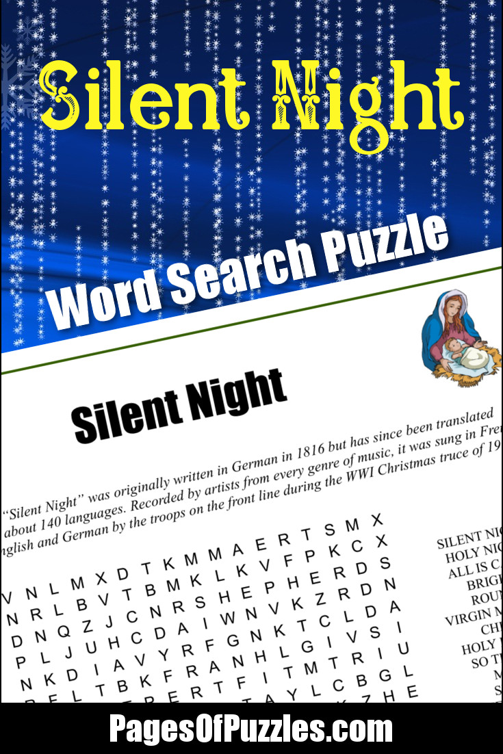 A fun printable word search puzzle featuring the lyrics of the Christmas carol Silent Night so you can sing along as you search for words including silent night, holy night, holy infant, sleep, shepherds, glories, alleluia, and the Savior.