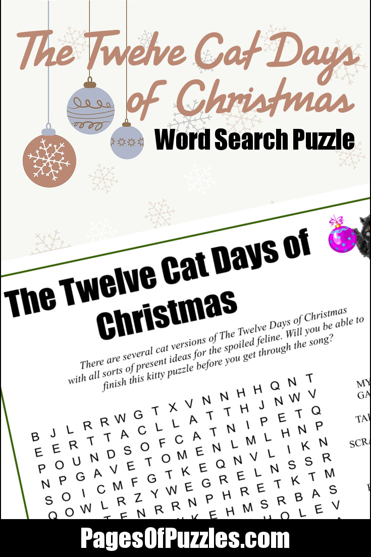 photograph regarding Twelve Days of Christmas Lyrics Printable named The 12 Cat Times of Xmas Phrase Look Internet pages of Puzzles