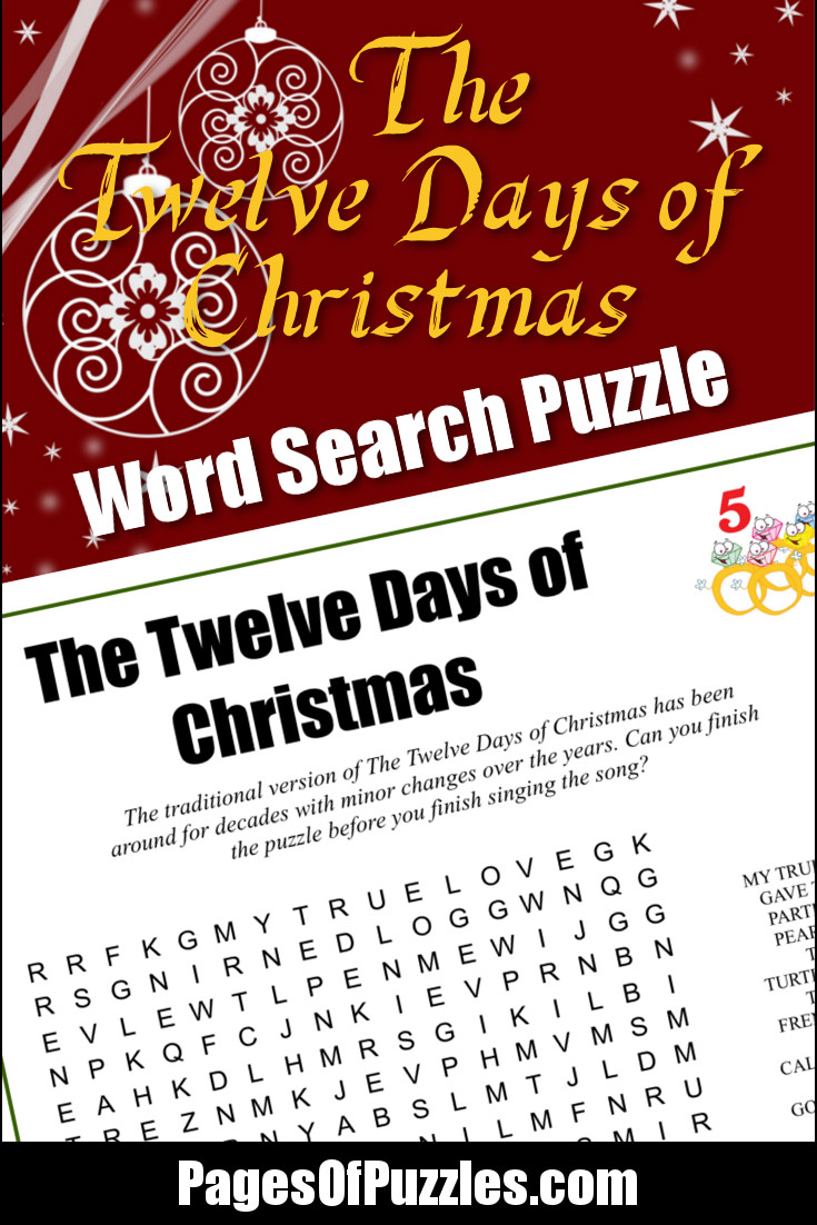 image relating to Twelve Days of Christmas Lyrics Printable known as The 12 Times of Xmas Phrase Appear Webpages of Puzzles