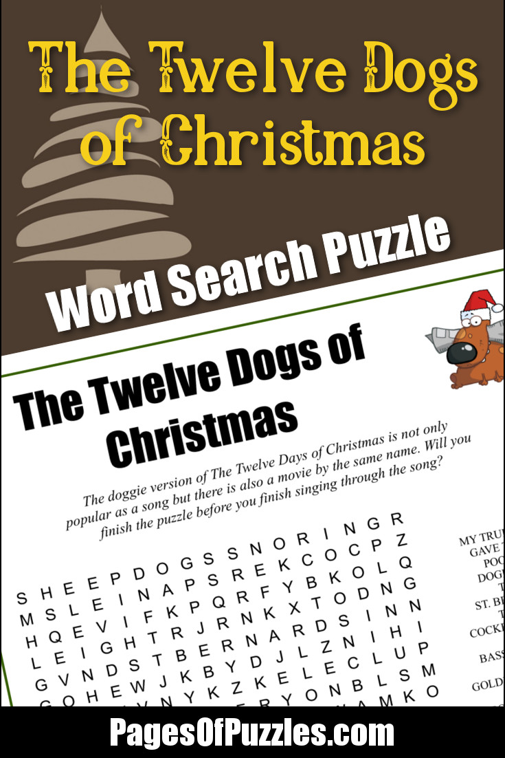 picture relating to Words to 12 Days of Christmas Printable called The 12 Canines of Xmas Term Seem Web pages of Puzzles