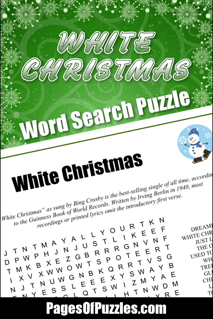 White Christmas Lyrics.White Christmas Word Search Pages Of Puzzles
