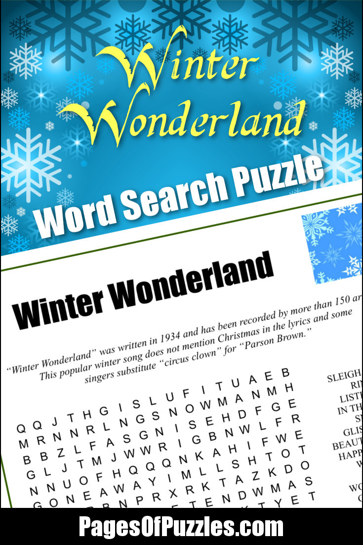 a fun printable word search puzzle featuring the lyrics of the classic christmas song winter wonderland - Classic Christmas Songs List