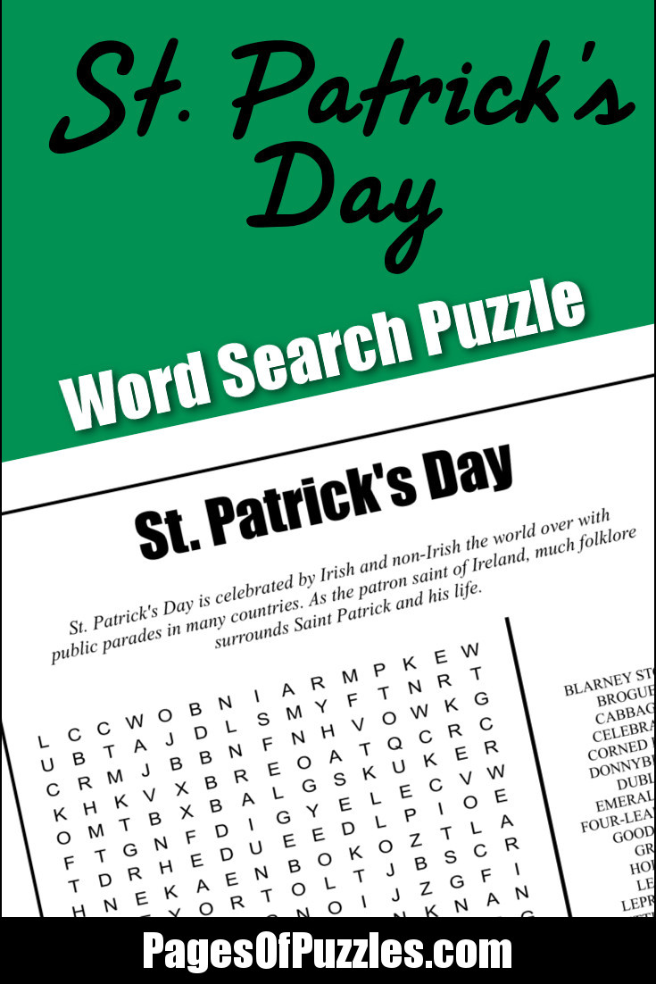 A fun printable word search puzzle featuring Irish-inspired terms in honor of St Patrick's Day.