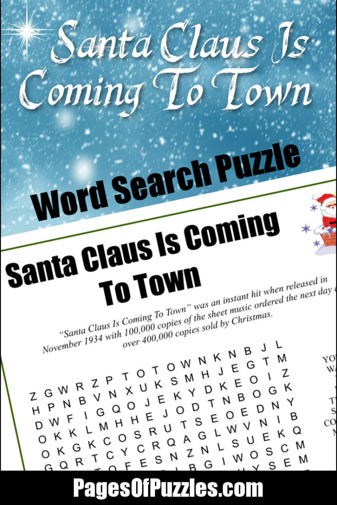 Santa Claus Is Coming To Town Word Search – Pages of Puzzles
