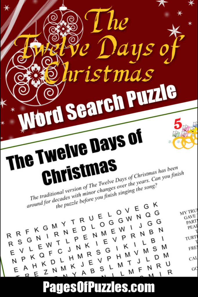 The Twelve Days of Christmas Word Search – Pages of Puzzles