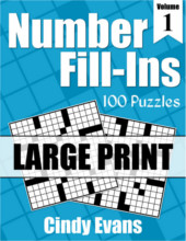 Number Fill-Ins Large Print Puzzle Book 1 from PagesOfPuzzles.com