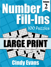 Number Fill-Ins Large Print Puzzle Book 2 from PagesOfPuzzles.com
