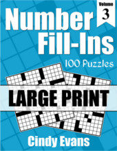 Number Fill-Ins Large Print Puzzle Book 3 from PagesOfPuzzles.com